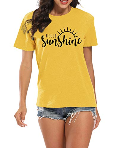 LUKYCILD Hello Sunshine Women T-Shirt Summer Short Sleeve Casual Letter Print Top