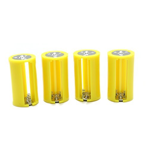 HUELE Yellow 3 AA To 1 D Converter - Parallel AA to D Battery Adapters Holder Case,Pack of 4