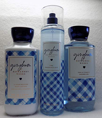 Bath and Body Works New Gingham Collection Gift Set 3 Piece, Lotion, Mist, and Shower Gel