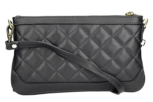 Pam Shop Umhängetasche Damen Mini Pierre Cardin Grau Aus Leder Made in Italy VN569