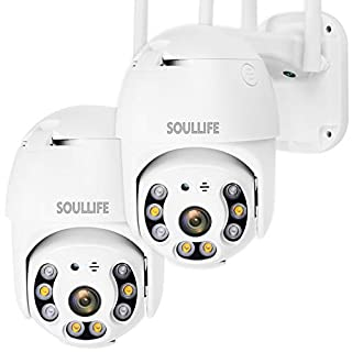 SoulLife Outdoor Security Camera, WiFi Camera 1080P HD Pan Tilt Zoom, Motion Detection Alarm, Two-Way Audio Night Vision, Support Max 128GB SD WiFi Home Indoor Camera,2 Packs (A-White)