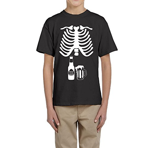 Halloween Skeleton Beer Belly Xray Funny Youngster Short Sleeve Design T Shirt]()