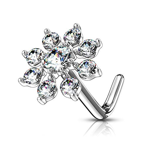 Forbidden Body Jewelry 20g Surgical Steel Big Bling 7mm CZ Snowflake L-Shape Nose Ring (Silver Tone)
