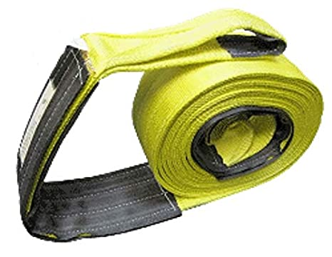 4 X 60 Ft Single Ply Recovery Strap with Wear Pad In Loops Cargo Equipment Corp