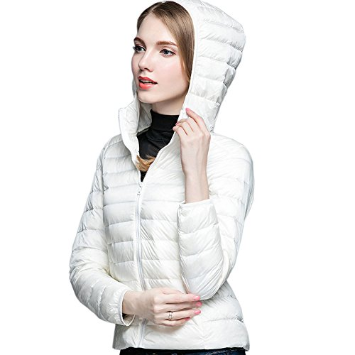 avorio Femme abbottonatura Packable cappuccio blouson invernale bianco Cappuccio Ake con pdznqPPO