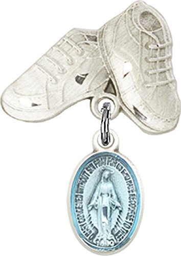Sterling Silver Baby Badge Baby Boots Pin with Blue Enameled Miraculous Medal Charm, 3/4 Inch