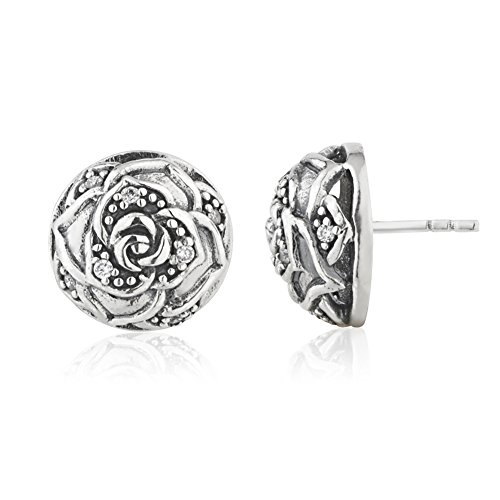 925 Sterling Silver Cubic Zirconia CZ Open Single Rose Flower Button Stud (Vintage Button Earrings)