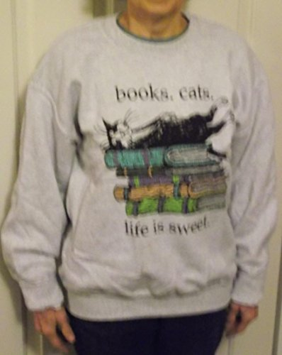 Books Cats - Life is Sweet Sweat-Shirt by Edward Gorey: Adult Extra Large ()