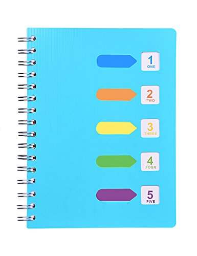 "Spiral Notebook, 5 Subject, Wide Ruled Paper, 120 Sheets, 8.3"" x 5.7"", Wirebound A5 writing Memo Diary Planner Journals for Travelers, Students and Office, Xyark by XYark (Image #7)"