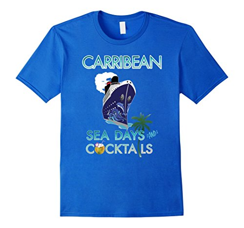 e Vacation Sea Days and Cocktails T Shirt Large Royal Blue ()