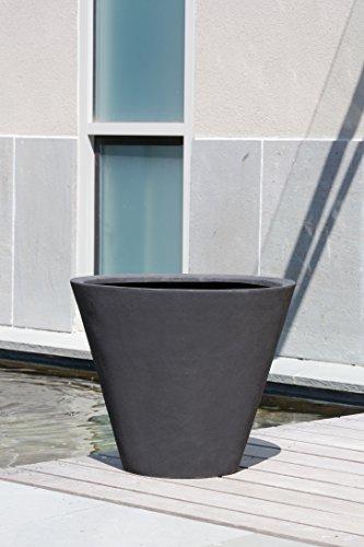 (Campania International 94-350-13904 Laghetto Tall Cone Planter, Onyx Black Finish )