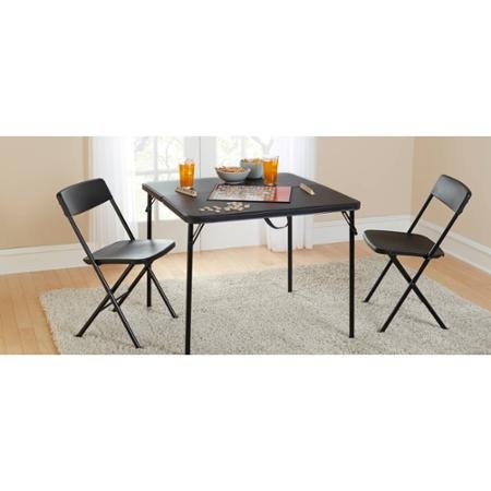 Mainstays 34'' Square Fold-in-Half Table, Black, Folds for Easy Storage