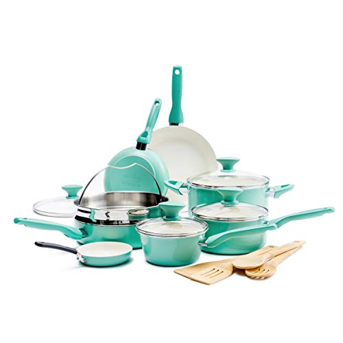 GreenPan Rio Healthy Ceramic Nonstick, Cookware Pots and Pans Set, 16 Piece, Turquoise