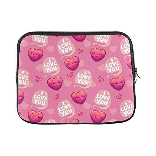 Design Custom Cute Hearts Love You Sleeve Soft Laptop Case Bag Pouch Skin for 11