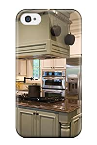 Premium Durable Green Kitchen Cabinetry In White Kitchen With Island Stove And Hood Fashion Tpu Iphone 4/4s Protective Case Cover