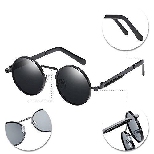 BOZEVON rond hommes Steampunk Noir femmes pour gris protection UV et en cadre avec soleil métal lentille Lunettes 400 de rq6rX