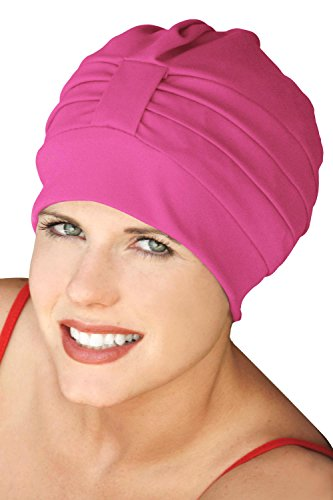 Headcovers Unlimited Turban Bathing Cap - Vintage Swim Caps for Women Hot Pink