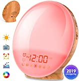 COULAX Wake Up Alarm Clock 2019 New Version Wood Grain Sunrise Alarm Clock Sunset Simulation Wake Up Light Night Light with Nature Sounds FM Radio Snooze Function and Atmosphere Lamp F