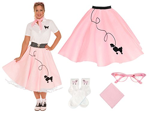 Costumes Broadway Musicals - Hip Hop 50s Shop Adult 4 Piece Poodle Skirt Costume Set Light Pink Medium/Large
