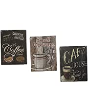 Wood panel tableau for kitchen and home decor - 3 pieces