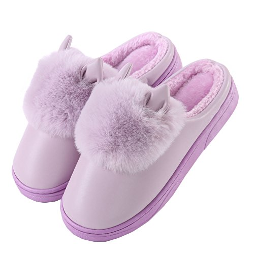 PU Cute cat ears cotton home slippers-Unisex winter warm plush boots shoes Purple yQZ8cCKse