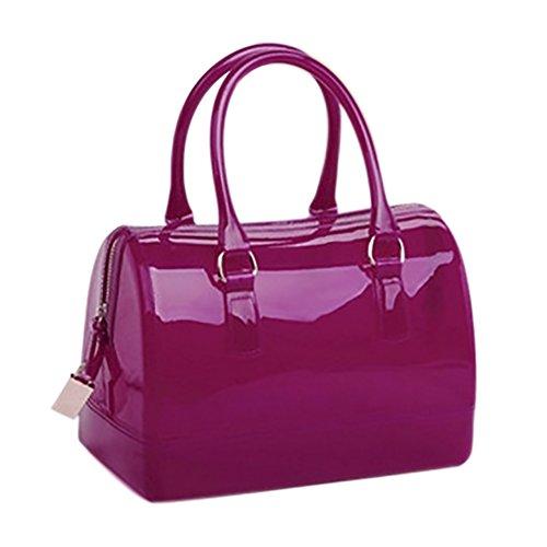 Women's Jelly QZUnique Rose Color Candy Shoulder Tote Bag Pillow Transparent Spring Summer Red Bag shaped Handbag Color pwwCqUgnxd