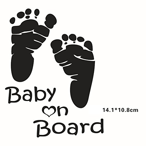 Motorcycle Addict Baby On Board Sign Of Baby In Car Footprint Auto Safety Warning Reflective Car Sticker Decal  Black