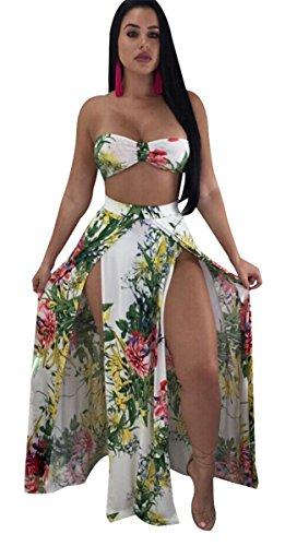 3 Piece Skirt Pant Suit - Womens Sexy 3 Pieces Floral Printed Bikini Set Bodycon Split Skirts Party Clubwear Beach Swimsuit Set