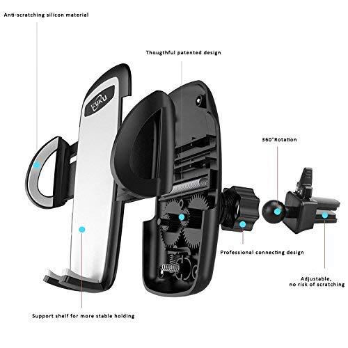 Soporte Movil Coche, Sostenedor de Teléfonos Móviles Universal IZUKU [Rotación de 360 grados] para Smartphone(IPHONE 5/6/7/7P,SAMSUNG ,HUAWEI) y Dispositivo GPS. Con una anchura de 5,3 cm a 9,5 cm