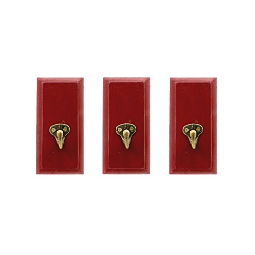 Cottage Style Wood and Metal Wall Hooks - Set of 3 (Burgundy)