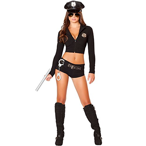 (SSQUEEN Women's Sexy Police Uniform Masquerade Clothes with Handcuffs)