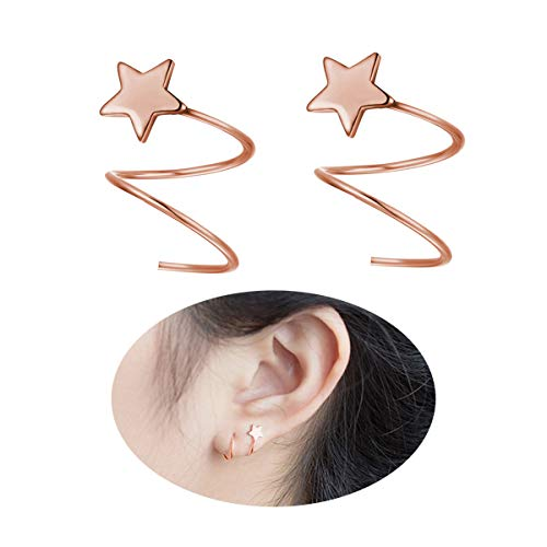 FarryDream 925 Sterling Silver Star Earrings for Women Teen Girls Fashion Wrap Earrings (Rose Gold Star Earrings)