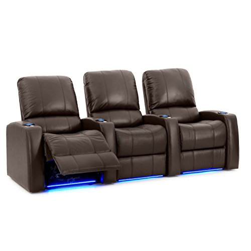 Octane Seating Blaze XL900 Media Room Chairs – Brown Premium Leather – Motorized Recline – Accessory Dock – Lighted Cup Holders – Straight Row of 3 Chairs For Sale