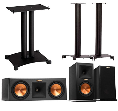 Price comparison product image Klipsch Reference Premier 3.0 Speaker System With Stands (1 Pair RP160M Bookshelf Speakers,  1 Pair Sanus SF30-B1 Bookshelf Stands,  1 RP250C Center Speaker,  1 Sanus SFC22B1 Center Stand) - Ebony