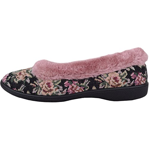 Footwear Indoor Floral On Womens Absolute With Warm Shoes Lining Slip Slippers Pink Style Fur gwBdq4