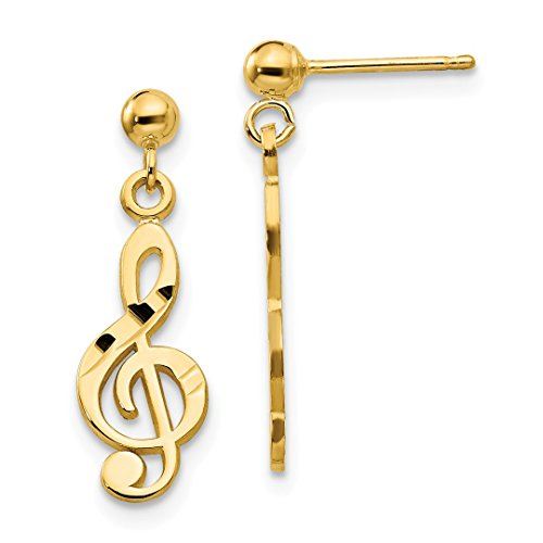 (14k Yellow Gold Treble Clef Drop Dangle Chandelier Post Stud Earrings Music Fine Jewelry Gifts For Women For Her)