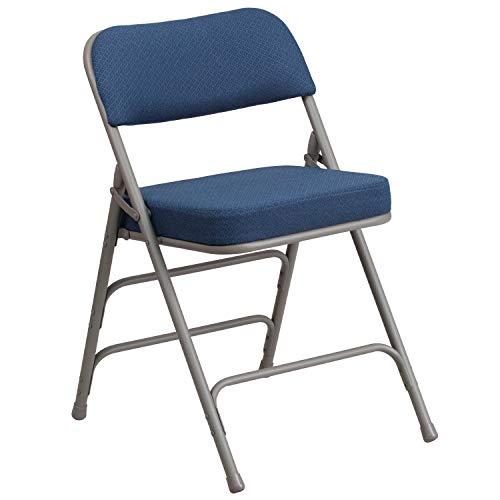 (Flash Furniture HERCULES Series Premium Curved Triple Braced & Double Hinged Navy Fabric Metal Folding Chair)