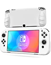 OIVO Switch OLED Protective Silicone Case Compatible with Nintendo Switch OLED, Switch OLED Soft Protective Cover with 2 Game Slots for Switch OLED Console - White