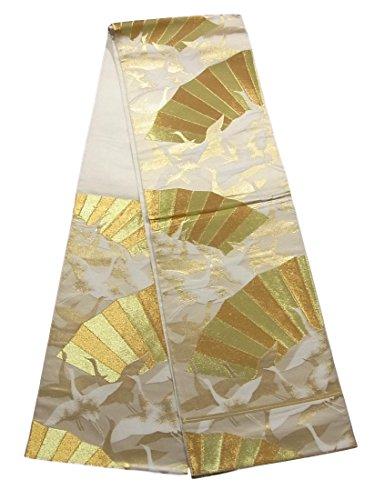 ストライク論理的にグラフィックリサイクル 袋帯 川島織物 地紙に群鶴文 正絹 六通