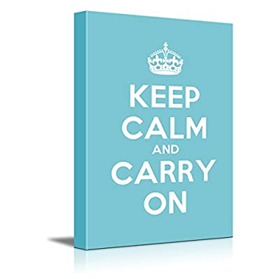 Keep Calm and Carry On Stretched Teal 24