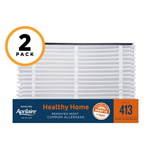 Aprilaire 413 Healthy Home Air Filter for Aprilaire Whole-Home Air Purifiers, MERV 13, for Most Common Allergens (Pack of 2)