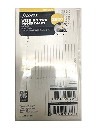filoFax 68420-2020 Refill for Year 2020 Personal Week On Two Pages Horizontal Diary with Appointments