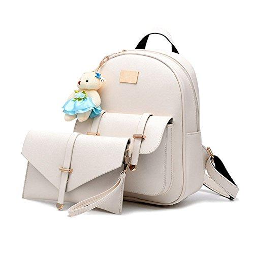 Hynbase Set Of 2 Women Casual Leather Schoolbag Backpack Shoulder Bag