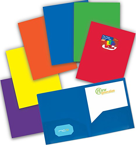 (NEW GENERATION - Heavy Duty Plastic 2 Pocket Folder, 6 Pack Assorted Primary Colors Poly Folders for Letter Size Papers, Includes Business Card Slot, Great to use at School, Home, Work and Storage)