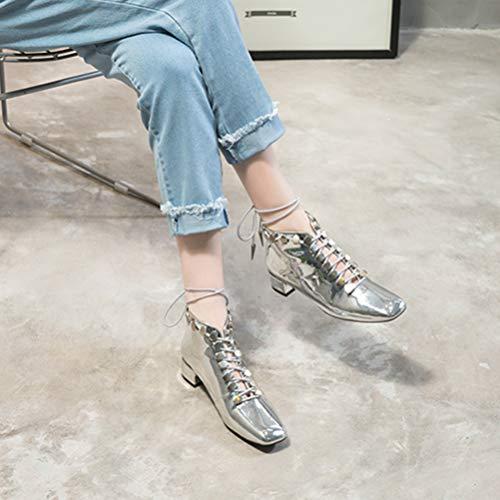 Rivet Tacones Botín Cuñas Decoración De Casuales Altos Microfibra Gris Invierno Oscuro Punk Cordones Mujeres Metal Leopard Con Zapatos t5pwWPwxqv