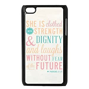 """Panbox CLASSIC Bible Quote White Phone Case for Apple iPod Touch 4th Generation - Proverbs 31:25 """"She is clothed in strength and dignity and she laughts without fear of the future by ruishername"""