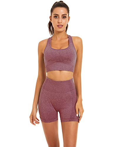 Toplook Women Seamless Yoga Workout Set 2 Piece Outfits Gym Shorts Sports Bra