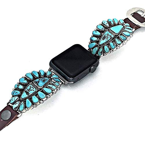 (Genuine Kingman Turquoise Apple Watch Replacement Band, 925 Sterling Silver and Leather, Signed and Hallmarked Authentic Navajo Native American, USA Handmade, 38mm, 40mm, 42mm)