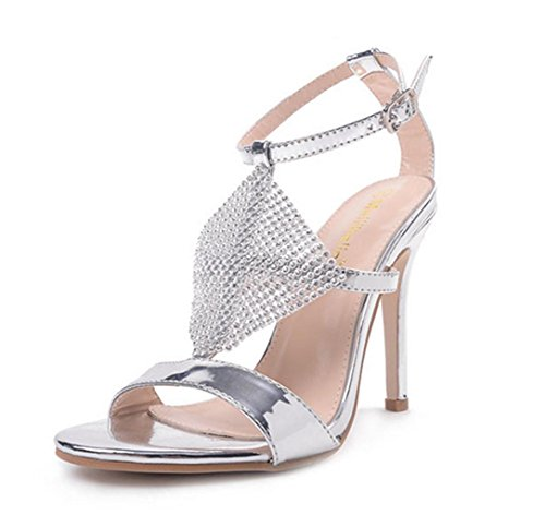 Prom Rhinestones Girl's Evening Party HETAO Heeled Heels High Silver Kitten Personality Wedding Sandals Stiletto Ladies Gift Strappy Low Bridal Shoes Mid ZBqYTUq