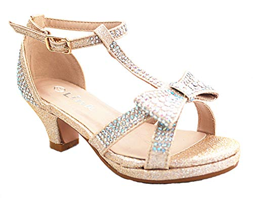 Link SF Riley-79K Girls Youth Pageant Jewel Rhine Stone Mary Jane High Heel Dress Shoes (13 M US, Champagne-55k)